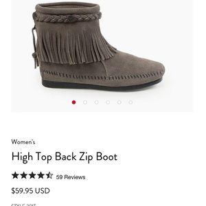 Minnetonka Moccasin bootie boot grey fringe